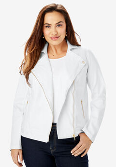 Refined Denim Moto Jacket, WHITE