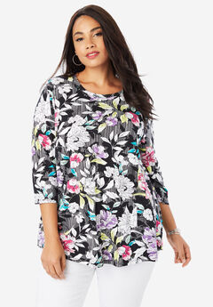 Trapeze Tunic, BLACK STRIPE FLORAL