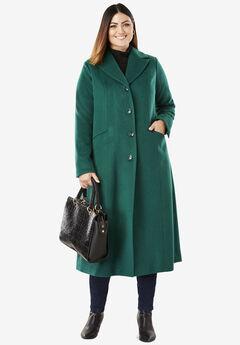 Full Length Wool Blend Coat, DARK HUNTER