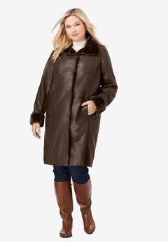 Fur-Trim Leather Swing Coat, CHOCOLATE