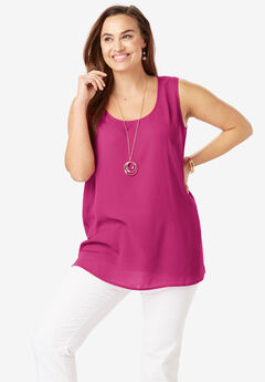 Georgette Tunic Tank, BRIGHT BERRY