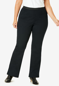 Bootcut Stretch Denim Jeggings, BLACK
