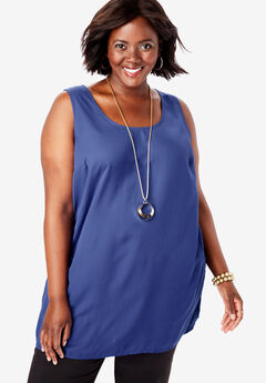 Georgette Tunic Tank, ULTRA BLUE