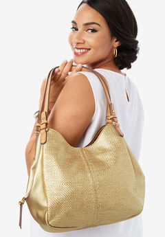 Woven Metallic Hobo Bag,