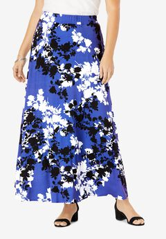 Everyday Knit Maxi Skirt, BLUE GRAPHIC FLORAL