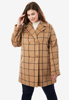 A-Line Peacoat, BROWN MAPLE WINDOW PANE
