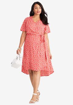 2-Piece Dress, SUNSET CORAL DOT