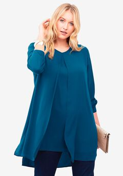 Flyaway V-Neck Tunic, PEACOCK TEAL