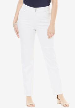 Tummy Control Straight Jean, WHITE