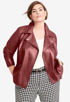 Leather Moto Jacket, RICH BURGUNDY