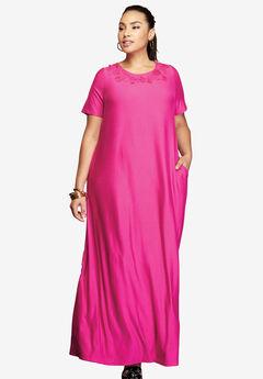 Knit Maxi Dress, BERRY