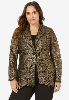 Lace Blazer, BLACK GOLD METALLIC