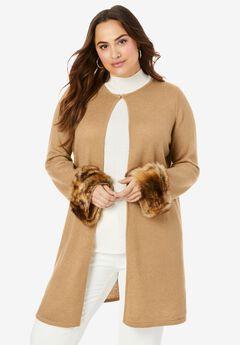 Faux Fur Cuff Cardigan, SOFT CAMEL