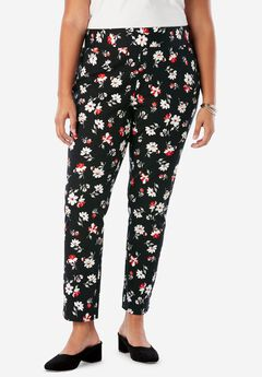 Tummy Control Twill Ankle Pant, BLACK ABSTRACT FLORAL