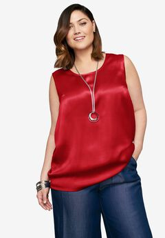 Sleeveless Satin Blouse, BRIGHT RUBY