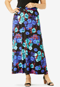 Everyday Knit Maxi Skirt, BLACK WATERCOLOR ROSE