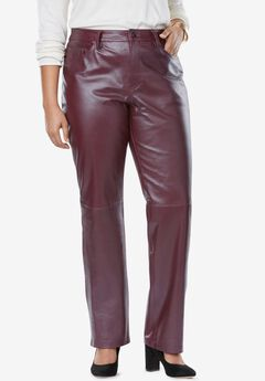 Straight Leg Leather Pants, DEEP MERLOT