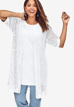 Crochet Duster Sweater, WHITE
