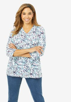 V-Neck Tee, WATERCOLOR PAISLEY