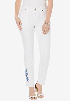 True Fit Straight Leg Jeans, BLUE FOLK IKAT EMBROIDERY