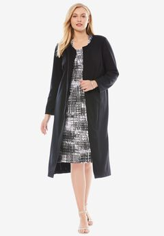 2-Piece Ponté Knit Jacket Dress,