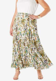 Cotton Crinkled Maxi Skirt, MULTI PAISLEY