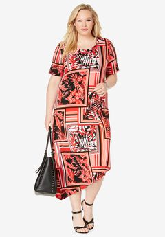 Asymmetrical Hem Dress, HOT RED TROPICAL SCARF PRINT