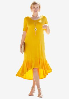 Everyday Knit Flounce Hem Maxi Dress, SUNSET YELLOW
