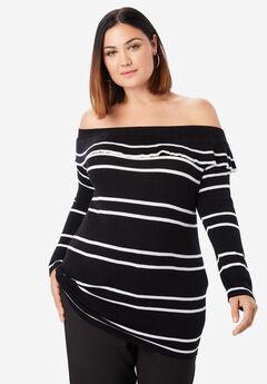 Off-The-Shoulder Pullover Sweater, BLACK STRIPE