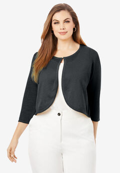 Curved Hem Sweater Shrug, BLACK