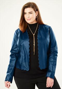 Scalloped Leather Jacket,