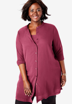 Georgette Button Front Tunic, DARK WINE
