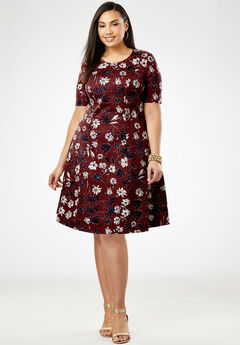Ponté Knit Elbow Dress with Scoop Neckline, DEEP MERLOT SKETCH FLORAL
