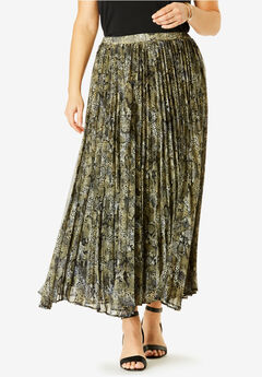Pleated Maxi Skirt, GREEN KHAKI SNAKE