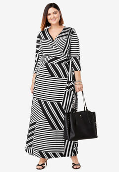 Faux Wrap Maxi Dress, WHITE BLOCKED STRIPE