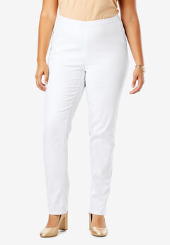 Straight Leg Stretch Denim Jeggings, WHITE TWILL