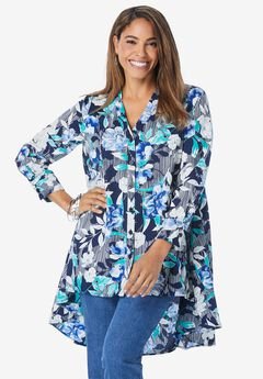 Hi-Low Georgette Tunic, NAVY STRIPE FLORAL