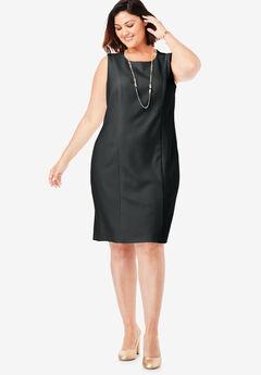 Tummy Control Bi-Stretch Sheath Dress, BLACK