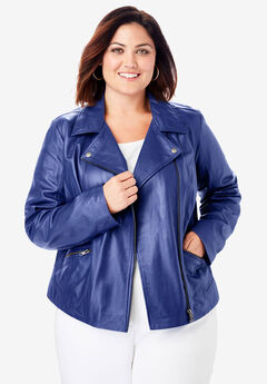 Leather Moto Jacket, ULTRA BLUE