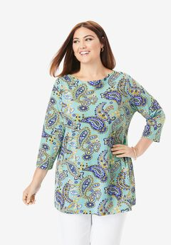 Boatneck Tunic, AQUA PLAYFUL PAISLEY
