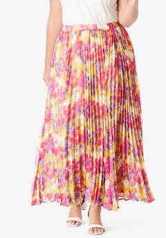 Pleated Maxi Skirt, YELLOW WATERCOLOR FLORAL