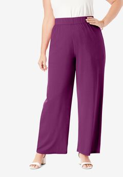 Everyday Stretch Knit Palazzo Pant, PURPLE TULIP