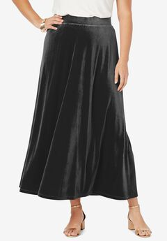 Velour Maxi Skirt, BLACK