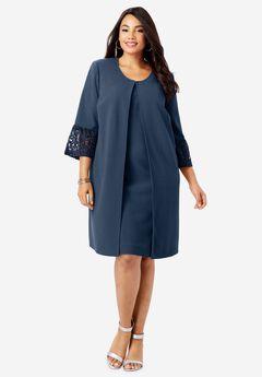 Lace Trim Jacket Dress, NAVY