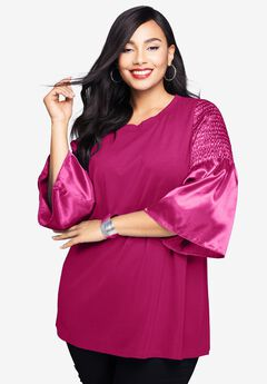 Satin Bell Sleeve Ponte Tunic,