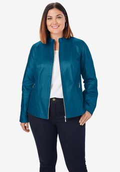 Zip Front Leather Jacket, OCEAN TEAL