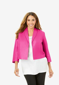 Leather Shrug Jacket, TROPICAL RASPBERRY