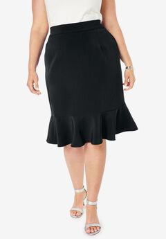 Flounced Bi-Stretch Skirt, BLACK
