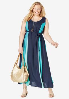 Colorblock Maxi Dress, NAVY COLORBLOCK