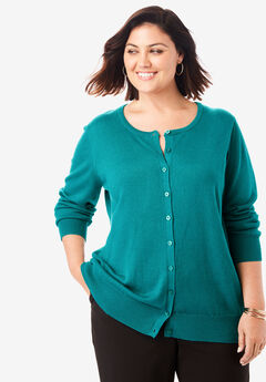 Fine Gauge Cardigan, GEMSTONE GREEN